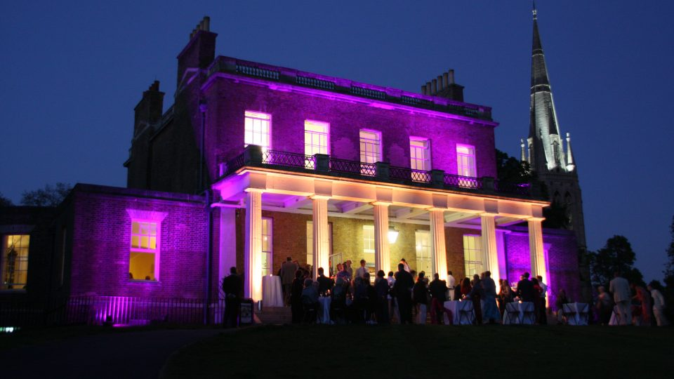 Wireless battery powered uplighters being used at a Georgian Stately Home - outdoor lighting