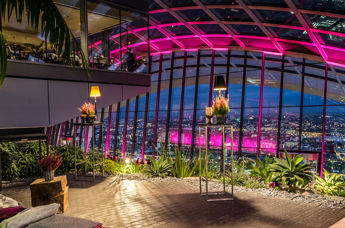 London Sky Garden battery powered venue lighting