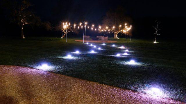 Wedding Lighting - Battery Powered Table Lights creating pathway + Battery Festoon Lights