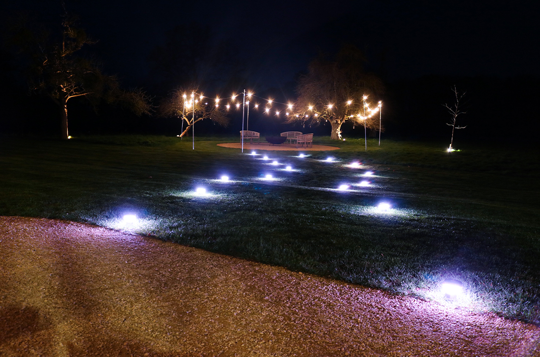 Wedding Lighting - Battery Powered Table Lights creating pathway + Battery Festoon Lights